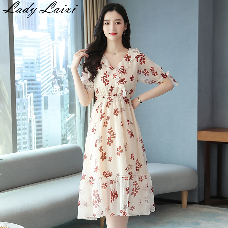 2020 Summer causal High quality Floral Printed <font><b>Dress</b></font> For Women <font><b>Beach</b></font> <font><b>Boho</b></font> <font><b>Dress</b></font> Ruffles <font><b>Sexy</b></font> V-neck <font><b>Elegant</b></font> <font><b>dress</b></font> image
