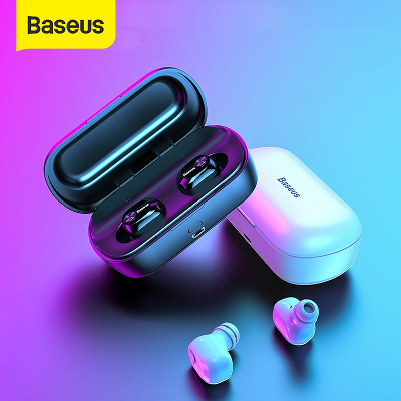 Baseus encok w01 tws bluetooth wireless bluetooth headphone 5.0 stereo bass wireless earphones with hd microphone for phone