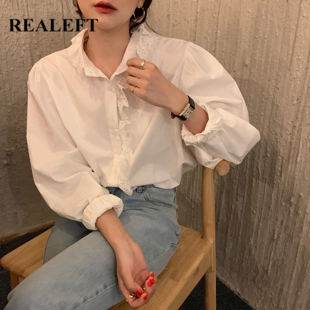 REALEFT Elegant White Women's Blouse Lace Patchwork Lantern Sleeve Buttons Office Shirts Tops Female 2021 New Spring Summer 1
