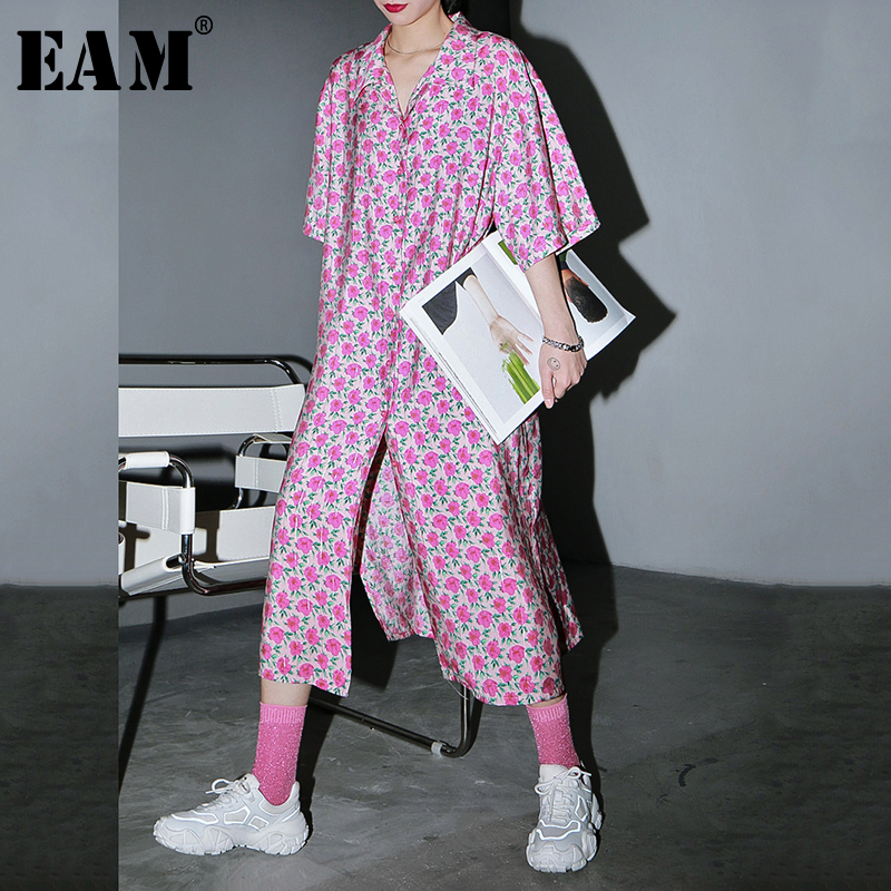 [EAM] Women Pattern Printed Big Size Shirt Dress New Lapel Three-quarter Sleeve Loose Fit Fashion Tide Spring Summer 2020 1U383