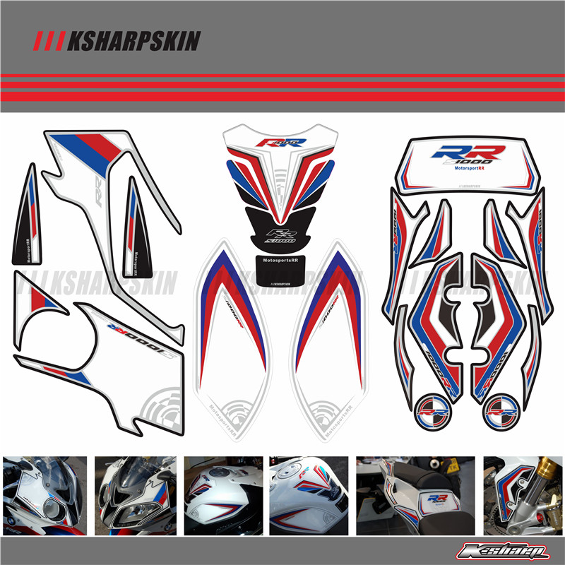 Motorcycle Front Rear Fairing Motor Number Board 3D Gel Protector Tank Knee Section Paint pad for BMW 2012-2014 S1000RR S1000RR image