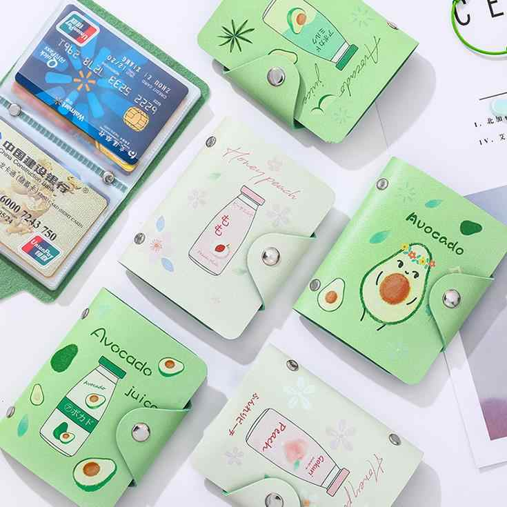 1 Pcs Cute Fruit Avocado Peach Milk Drinks PU Card Holders Women Lady Passport Credit ID Business Card Wallet Coin Case Bag Gift