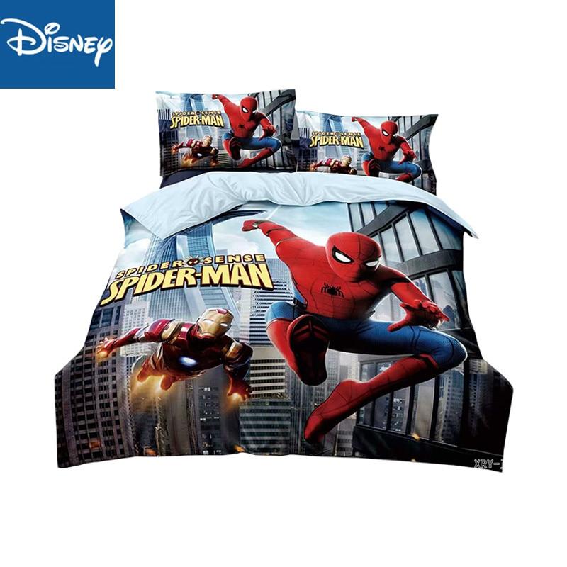 Disney Single Size Spider Man Bedding Set For Boys Bedroom Decor Duvet Covers 150x200cm Bed Twin Flat Sheet 2-4pcs Free Shipping