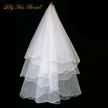 Cheap Short Bridal Veils Free Shipping Two Layers Pearls Embellished Tulle Wedding Headpiece without Combs
