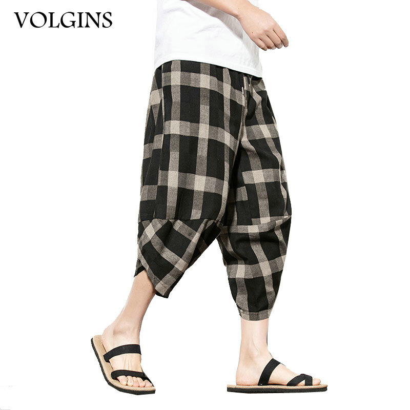 Streetwear Mens Cotton Linen Beach Pants Male Summer Casual Calf-Length Pants Man Plaid Hip Hop Baggy Loose Trousers