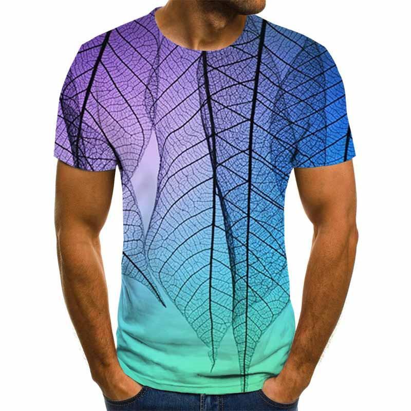 New funny T-shirt fashion 3D t-shirt loose street T-shirt men's shirt Leaves printed tshirt harajuku shirt men's
