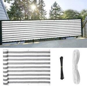 Image 1 - Garden Fence Gardening Balcony Sun Shade Sail Awning Canopy Balcony Cloth Cover Anti UV   Grey Privacy Screen Fence Sunshade