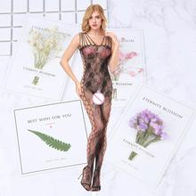 Black Bodystocking Fishnet Sheer Mesh Bodysuit Sexy Leotard Sex Clothes Open Crotch Flower Hot Stocking