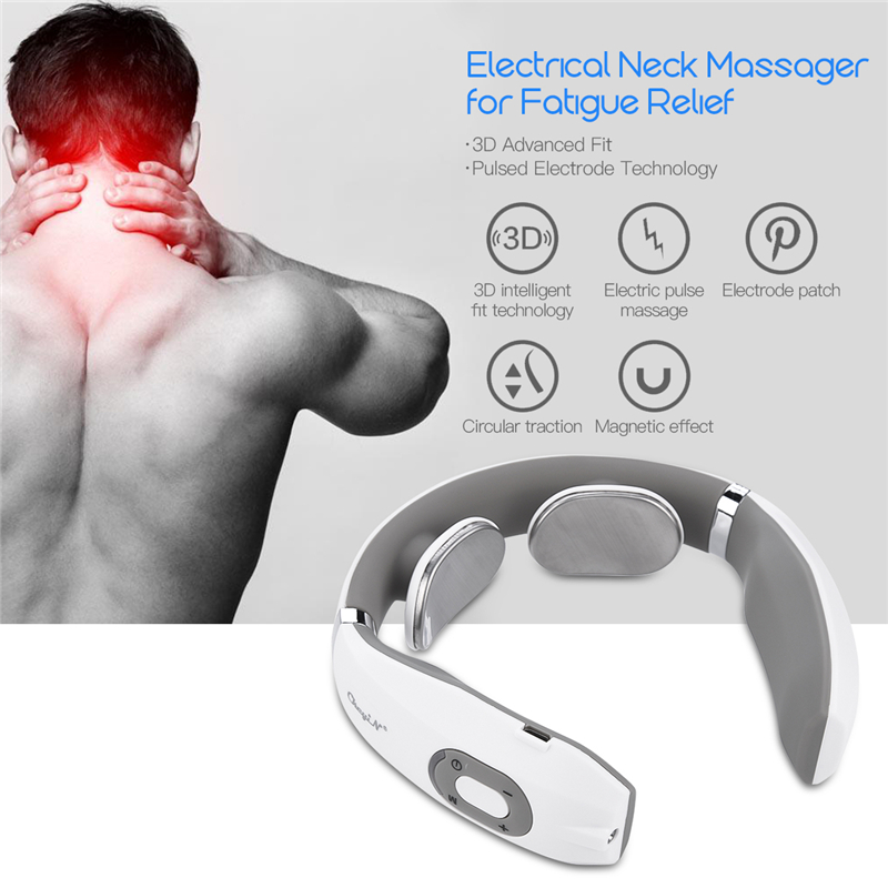 Electric Pulse Neck Massager Cervical Traction Collar Therapy Pain Relief Stimulator Guasha Acupuncture Cupping Patting Massage(China)