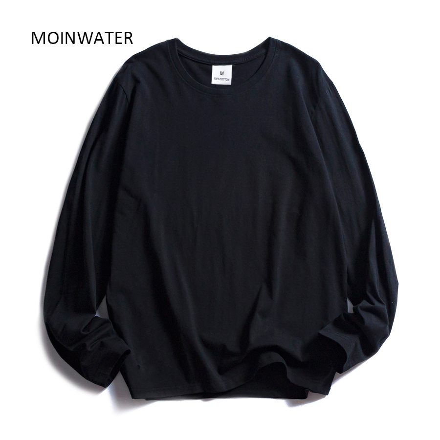 MOINWATER New Women Casual Long Sleeve T shirt Lady 100% Cotton T-shirts Female Soft Black White Base Tees Tops MLT2017