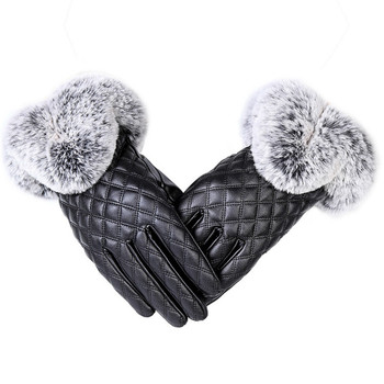 Fashion Women Warm Thick Winter Gloves Leather Elegant Girls Brand Mittens Free Size With Rabbit Fur Female Gloves image