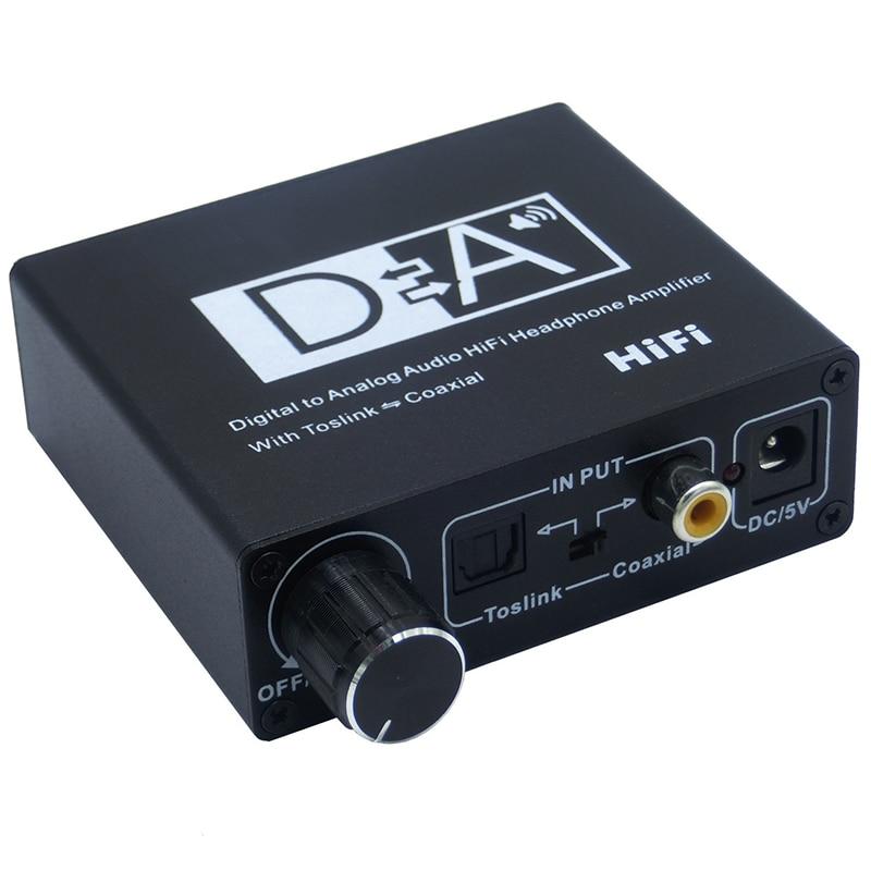 Hifi DAC Amp Digital to Analog Audio Converter RCA 3.5mm Headphone Amplifier Toslink Optical Coaxial Output