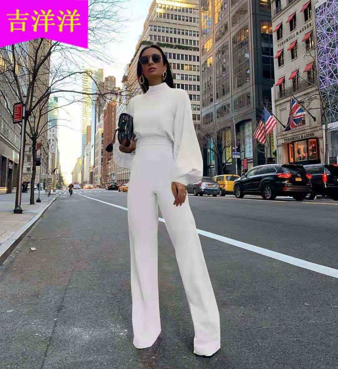 2019 Europe And America Hot Selling WOMEN'S Dress Half-Turtle-Neck Lantern Sleeve Loose-Fit High-waisted Onesie