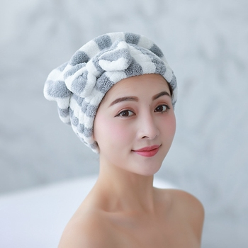 Microfiber Bath Hair Dry Cap Super Absorbent Quick Drying Bowknot Shower Cap Bathroom Accessories double layer colorful shower cap wrapped towels microfiber bathroom hats solid superfine quickly dry hair hat bath accessories