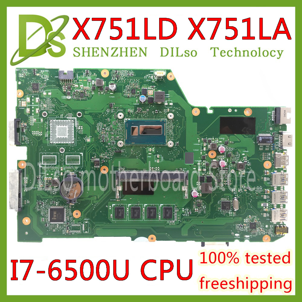 KEFU X751LA Motherboard For ASUS X751LA X751LAB X751LD Original Laptop Motherboard I7-6500U CPU 4GB RAM Original Mainboard Test