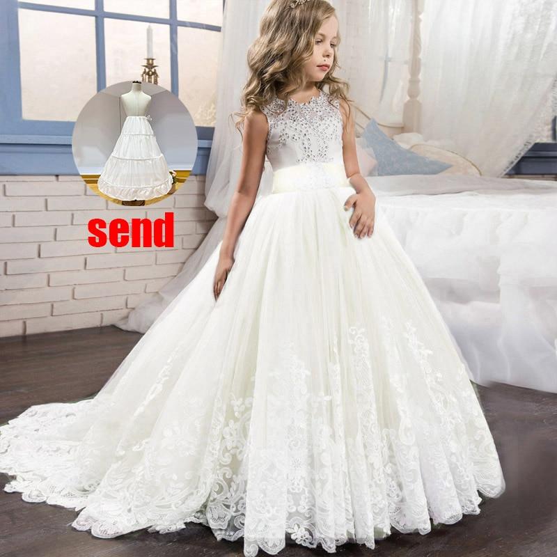 Платье с цветочным узором для девочек на свадьбу; вечерние платья; vestidos de primera comunion; платье для первого причастия; Пышное Бальное платье для детей; цвет белый - Цвет: champagne