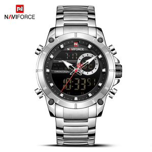 Image 5 - NAVIFORCE Silver Stainless Steel Men Army Military Dual Display Quartz Led Clock Male Waterproof Watches relogio masculino 9163