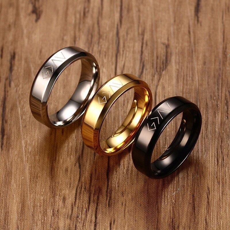 Dios de los hombres es mayor que los altos y los bajos anillo para acero inoxidable grabado Dios cristiano símbolos específicos banda joyería masculina