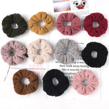 2020 Korea Fashion Summer Autumn Sweet Colorful Fur Soft Women Elastic Scrunchies Rubber Ponytail Holder Headband image
