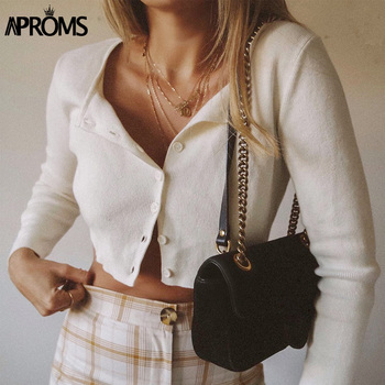 Aproms Candy Color Ribbed Knitted Cardigan Women Autumn Winter Long Sleeve Basic Cropped Sweaters Female Casual Short Jumper Top 1