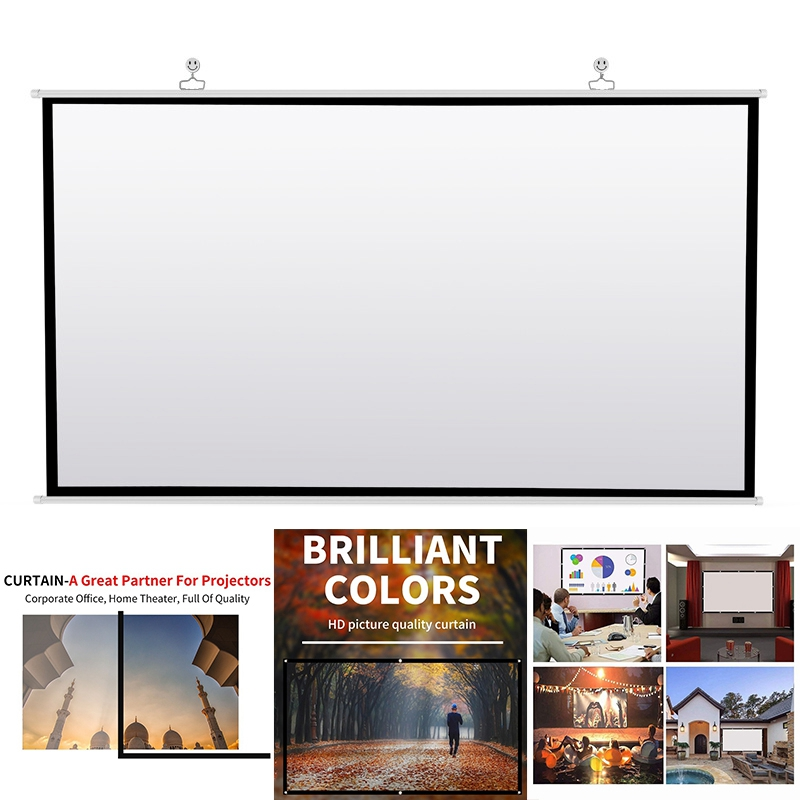 Projector Screen for Home TheaterOutdoor  HD White Foldable Anti-Crease 60inch Portable Projector Screen