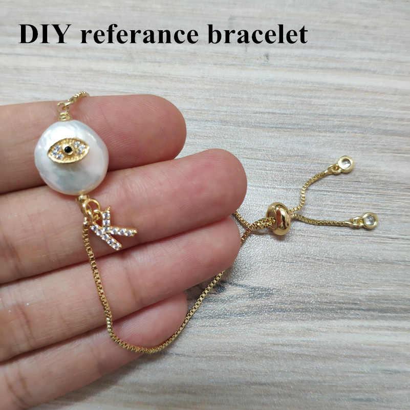 Ouro hortelã olho azul cz mal olho proteção charme real de água doce pérola conector pingente grânulo para pulseira brinco jóias diy