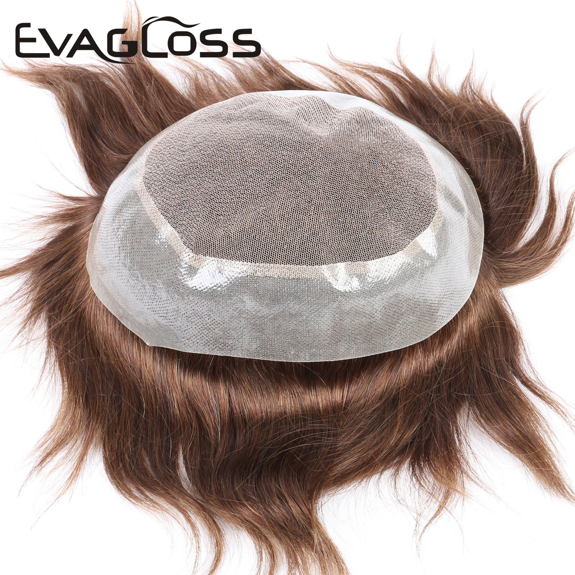 EVAGLOSS Swiss Top PU Around 100% Natural Human Hair Men's Wig Toupee Hairpieces