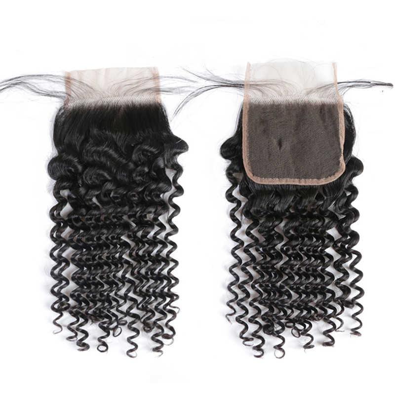 Ali Queen Rambut Peru Rambut Gelombang Dalam Keriting Rambut Manusia Bundel dengan Penutupan 3/4Pcs Rambut Pakan dengan Penutupan Frontal