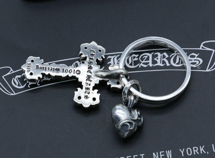 Брелок из стерлингового серебра 925 пробы, индивидуальная мода, Ретро стиль, панк стиль, в форме сердца, полый крест, форма, подарок, новинка 2018... - 4