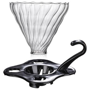 Glass Coffee Dripper Clever Coffee Filter Glass Coffee Pour Over Funnel Dripper (Black)(China)