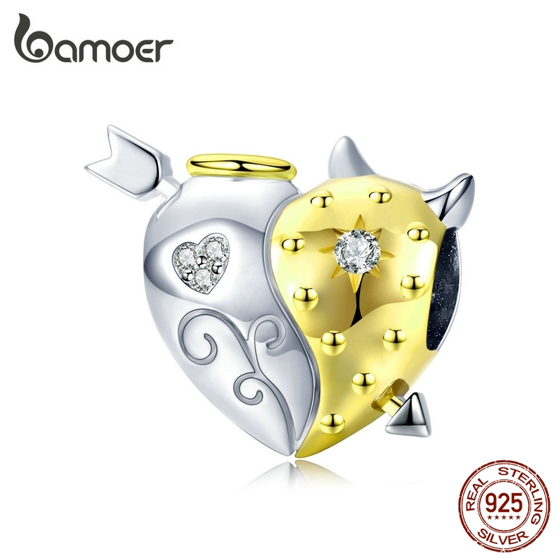 bamoer Angel and Devil Heart Beads for Women Original Charm Silver 925 Bracelets Biocolor Jewelry Gifts Luxury Bijoux BSC107(China)