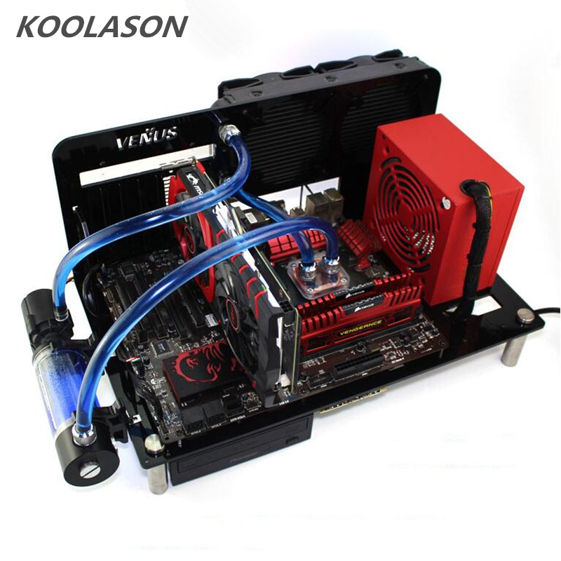 KOOLASON DIY Desktop Acrylic Rack Water Cooling ATX MATX Transparent Computer Towers Case Horizontal Main Chassis Box