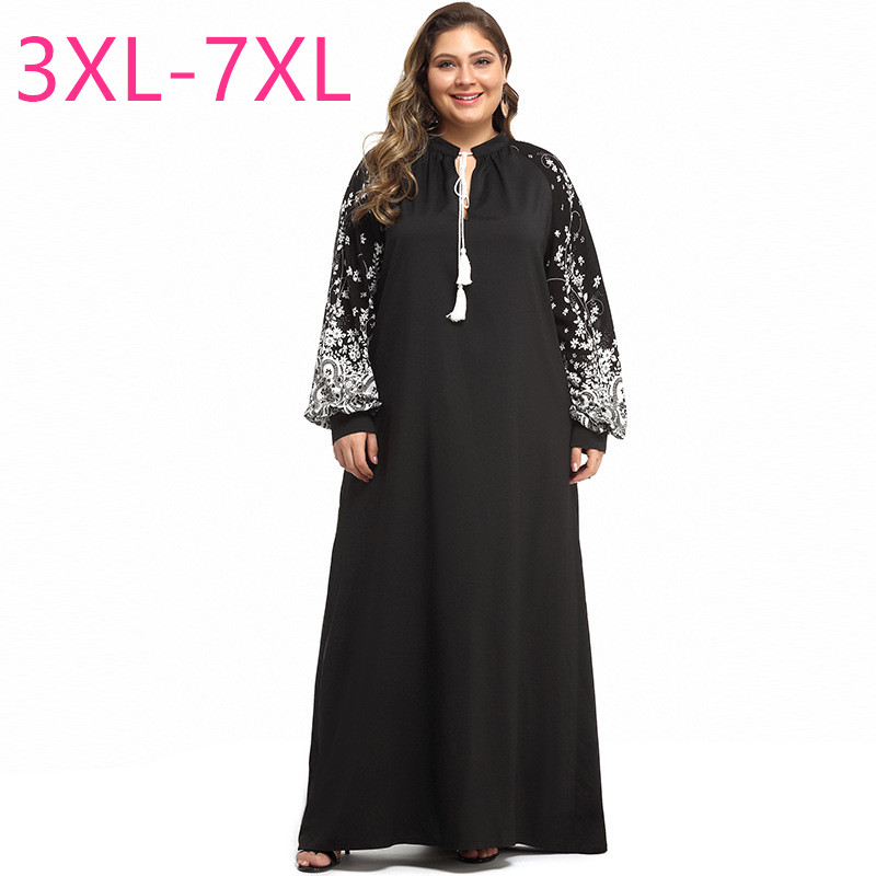New 2020 spring autumn plus size long dress for women large loose casual long sleeve black straight dress 3XL 4XL 5XL 6XL 7XL image