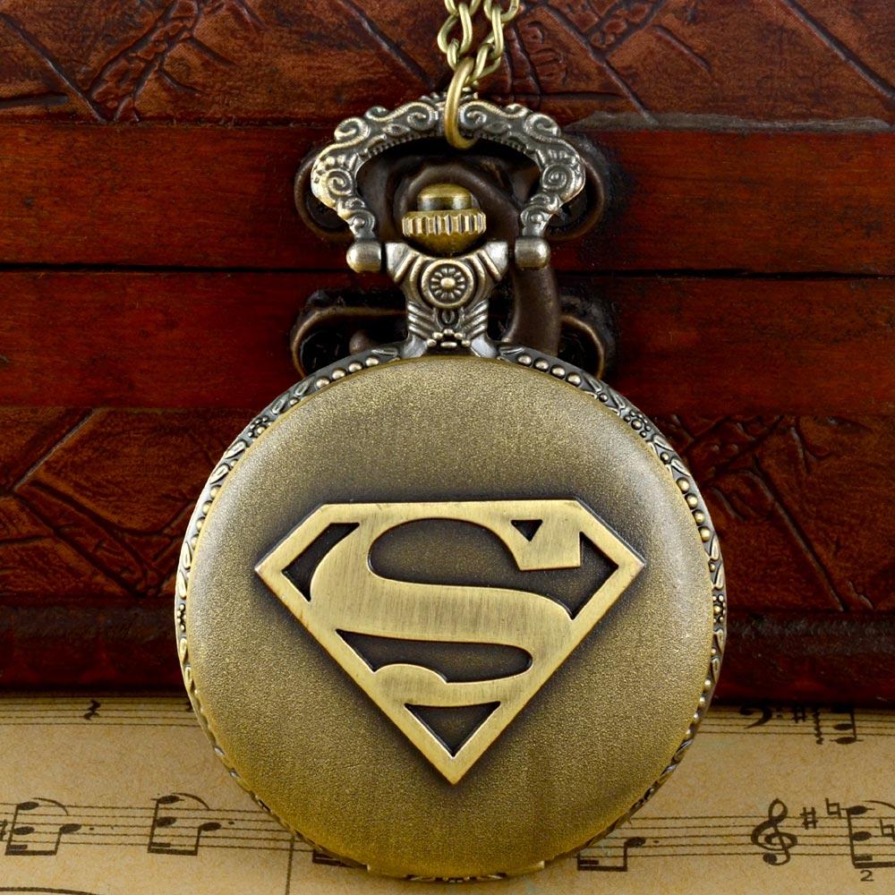Vintage Bronze Superman Quartz Pocket Watch  Men Women Classic Pendant Necklace Clock Christmas Gift