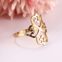 Dawapara Hyperbole Party Rings Four-leaf Clover Hollow Wedding Bands Ring Stainless Steel Jewelry Rose Gold tailor made luxury western rose gold color inlay health surgical stainless steel wedding bands rings sets