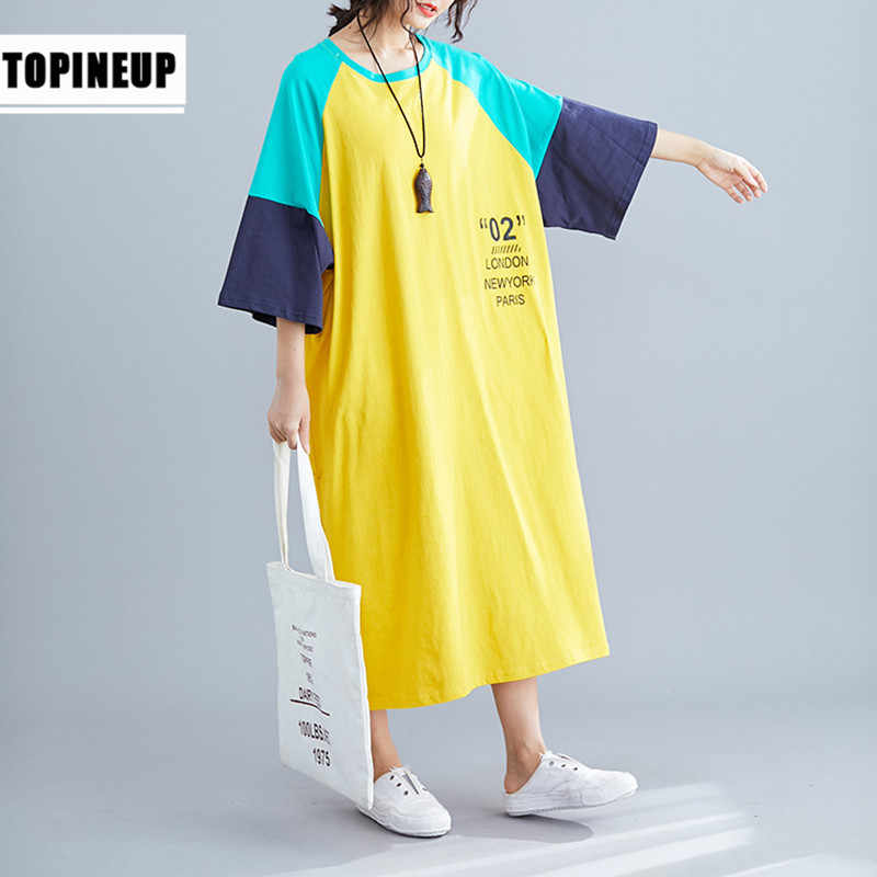 Maxi long casual letter words print sundress for women loose plus size tshirts dress batwing sleeve woman's dresses oversized