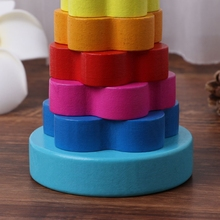 Baby Kid Education Wooden Toy Stacking Nest Learning Stack Up Rainbow Tower Ring   BX0D