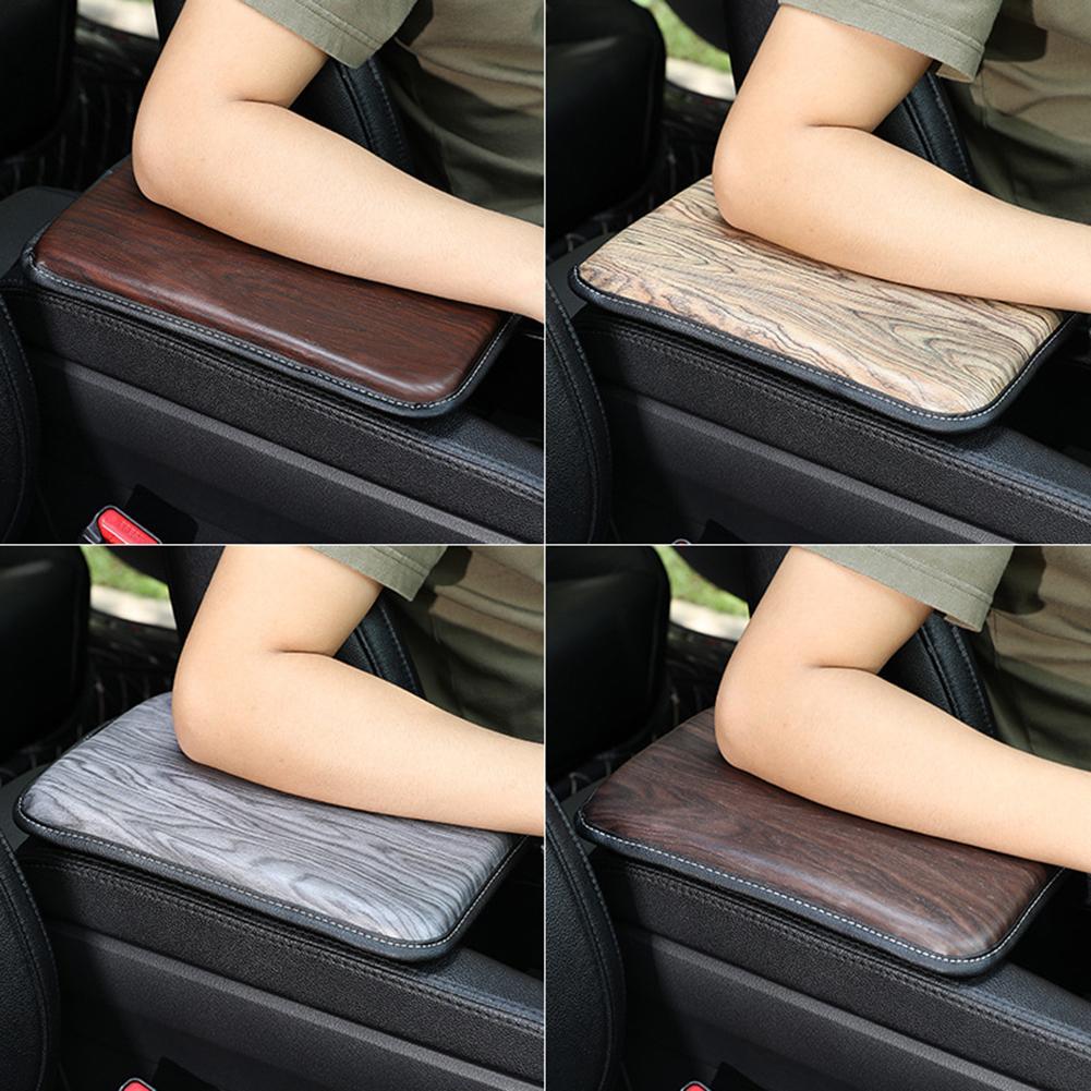 Compartimento de reposabrazos para coche, cojín para consola central, textura de cuero fino, alfombrilla para pasamanos con textura de madera transparente y delicada antideslizante