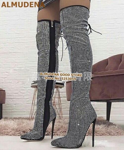 彩钻黑钻后系带长靴 (4)-颜色