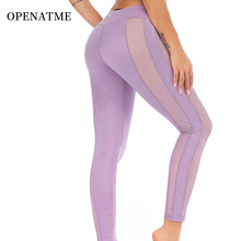 цена на OPENATME Sexy Breathable Mesh Leggings Sports Women Fitness Moisture Wicking Quick-drying Running Pants Yoga Pants