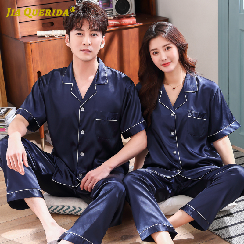 Blue Turn Down Collar Imitated Silk Fabric Homesuit Homeclothes Fashion Style Casual Style Couple Pajamas Set Men And Women
