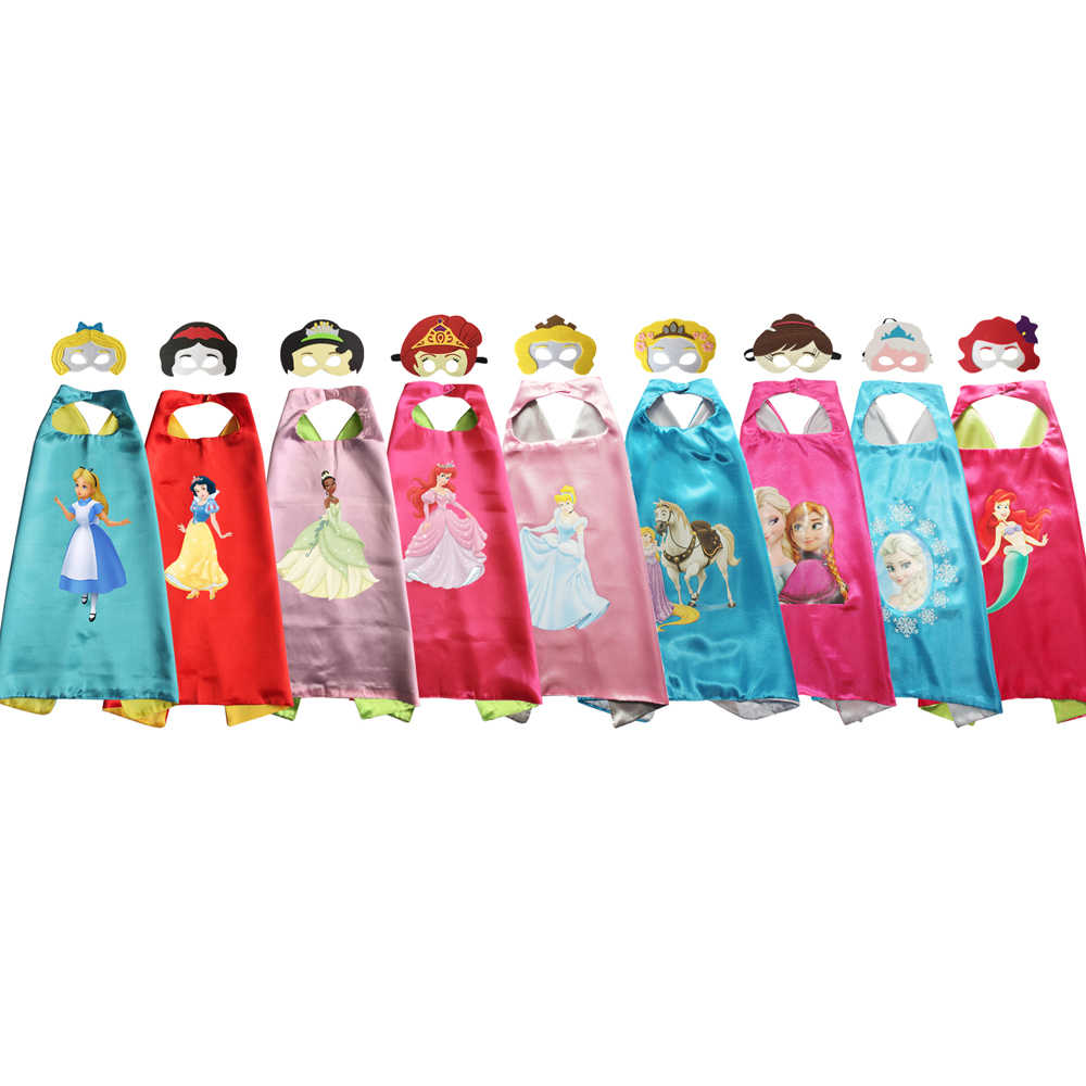 Costumes for Girls Princess Capes with Masks Snow White Sofia Cinderella Cosplay Birthday Party Dress Up