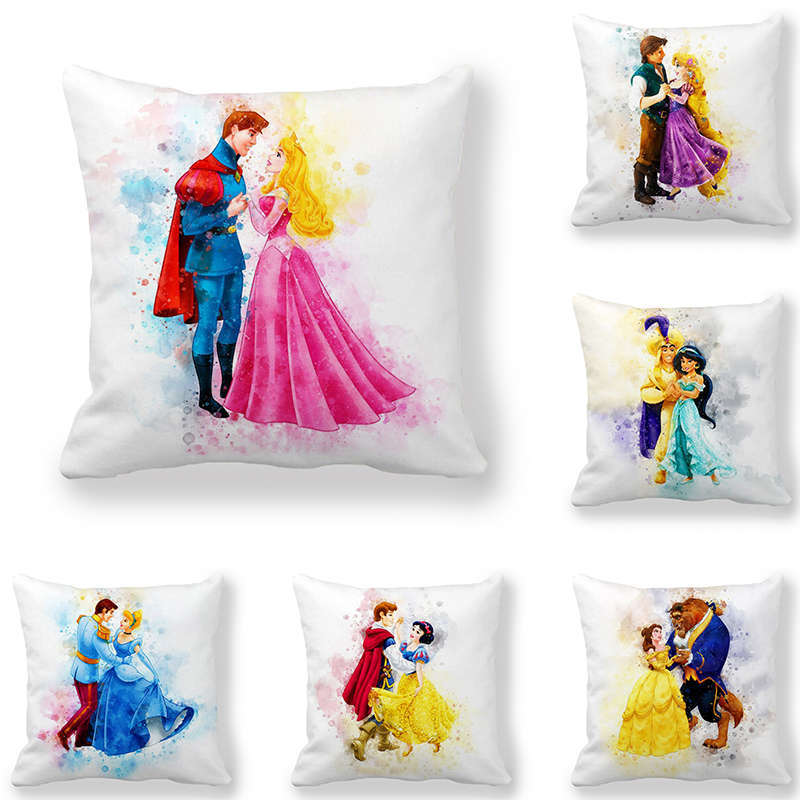 Disney Cartoon snow White princess Girls Cushion Sofa Throw Pillowcase Home Decor Cotton Linen Square Printed