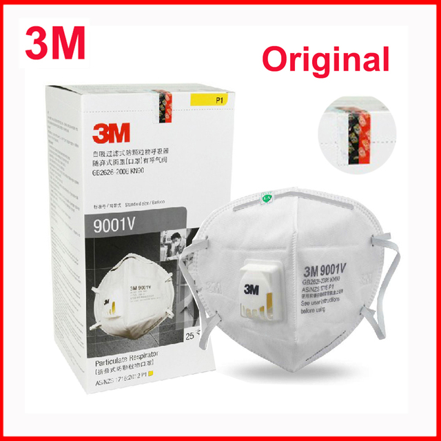 $  3M 9001V Masks PM2.5 Particulate Respirator Dust Mask with Cool Flow Valve Breathable Mask KN90