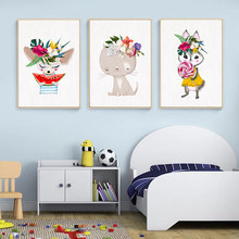 Cute Cartoon Animals Eat Watermelon Posters and Prints Canvas Paintings Wall Art Pictures for Living Room Children's Room Decor
