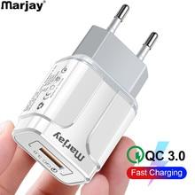 Carregador rápido usb 3.0 marjay para celulares, carregador de parede de 18w qc 3.0 4.0 ue eua iphone samsung xiaomi huawei
