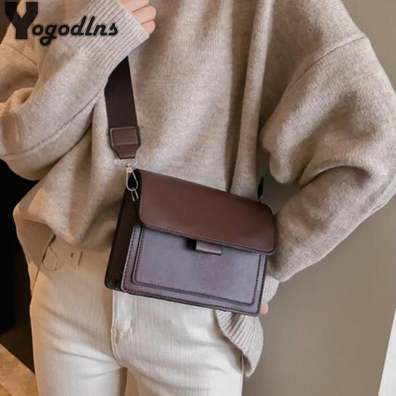 Vintage PU Leather Crossbody Bags For Women 2020 Solid Color Shoulder Messenger Bag Luxury Handbags Designer Crossbody Bag