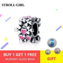 Strollgirl Authentic sterling silver 925 Petal Beads Surrounded By Pink Hearts Fit DIY European Bracelets For Women Jewelry New