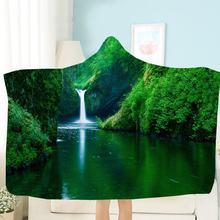 Одеяло с капюшоном «Водопад» красивое Флисовое одеяло живописным
