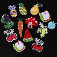 Банан и лимон вишня персик арбуз фрукты Вышивка Патчи для Одежда из железа на детская одежда Аппликации значок полосы стикер